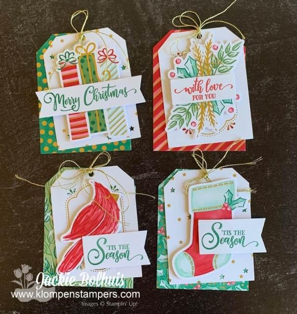 Make 30 Christmas tag with this kit; 4 designs make 5 tags each.