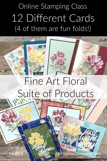 Grab this online stamping class that gives you 12 different card tutorials; 4 of them are the best fun fold cards ever with this stamp set.