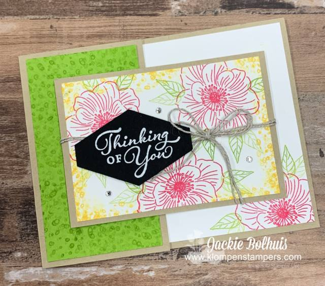 The Easiest Fun Fold Card here features a greeting from the Stampin' Up! Happy Thoughts stamp set
