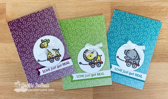 These colors are perfect for baby boy cards and these handmade cards only take a few minutes to make.