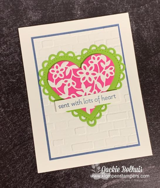 This cutest greeting card starts with a die cut heart and stamped with 'sent with lots of love'