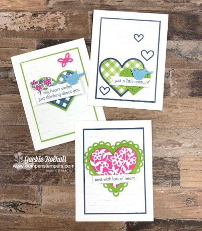 The cutest greeting cards made with the Stampin' Up! Lots of heart stamp set.