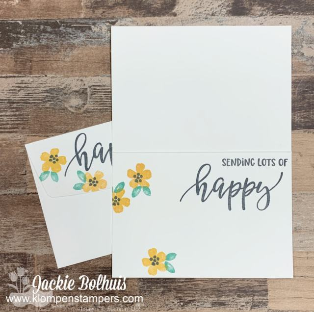 Don't forget to stamp the inside of your notecards and the envelope flap to carry the look.