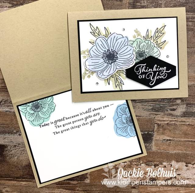The new reversible stamps were used on the outside of my greeting card but also on the inside!