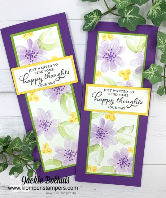 "These slim line cards are so on trend but the Gorgeous Posies stamp set is retiring. Visit www.klompenstampers.com and search for ""slim line cards"""