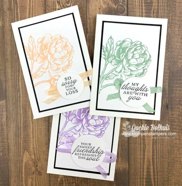 These classic handmade cards are made with the Stampin' Up! Prized Peony stamp set.