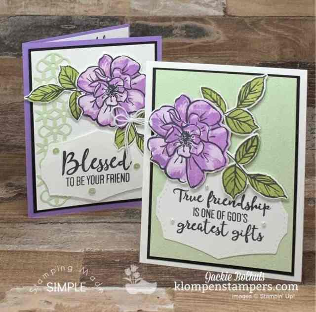These cards used die cut flowers on top of textured background