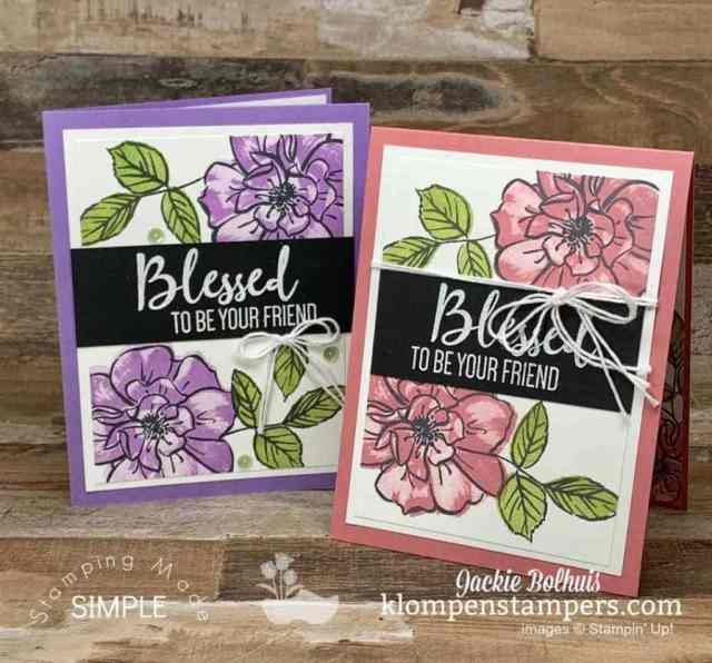 Cards for friends with large rose stamp