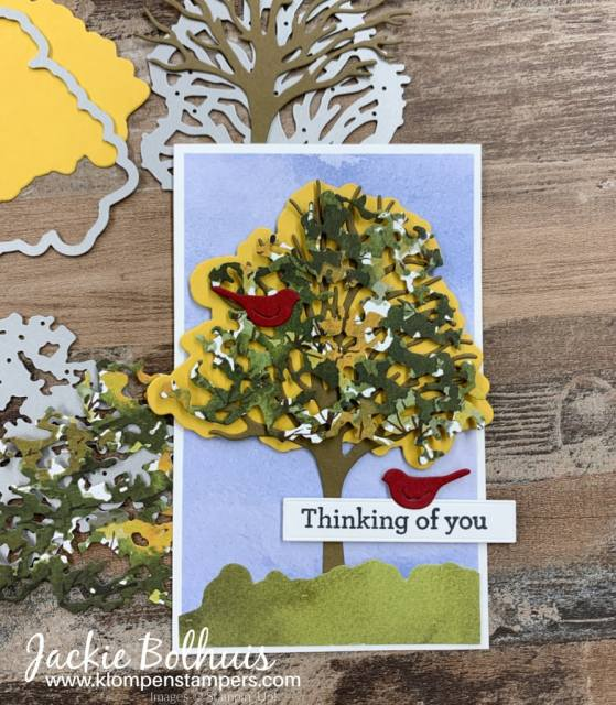 These handmade cards for men focus on the die cut trees and layering them to get a unique look.