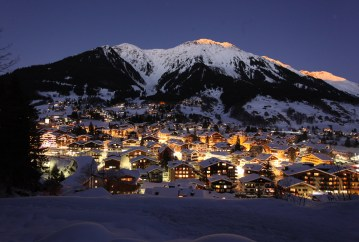 Klosters at night in the winter