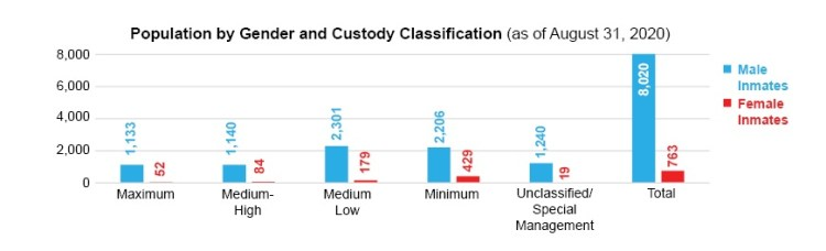 Population by Gender and Custody Classification as of August 31, 2020 bar chart.