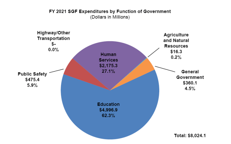 FY 2021 SGF Expenditures by Function of Government pie chart