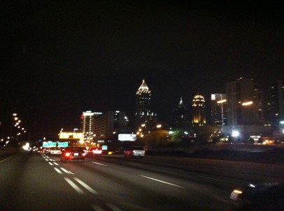One last drive home through the dark city before bed.