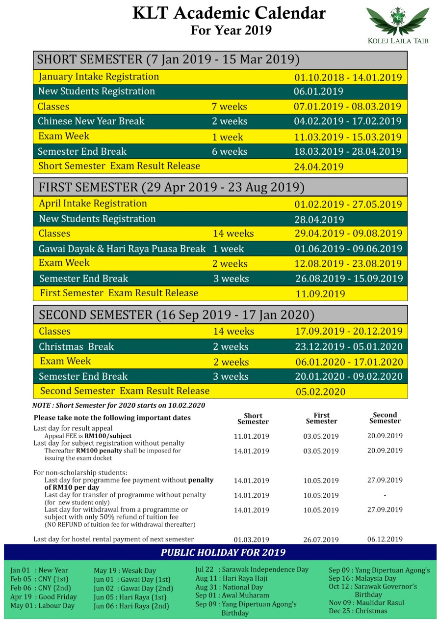 KLT Academic Calendar 2019 (revised)