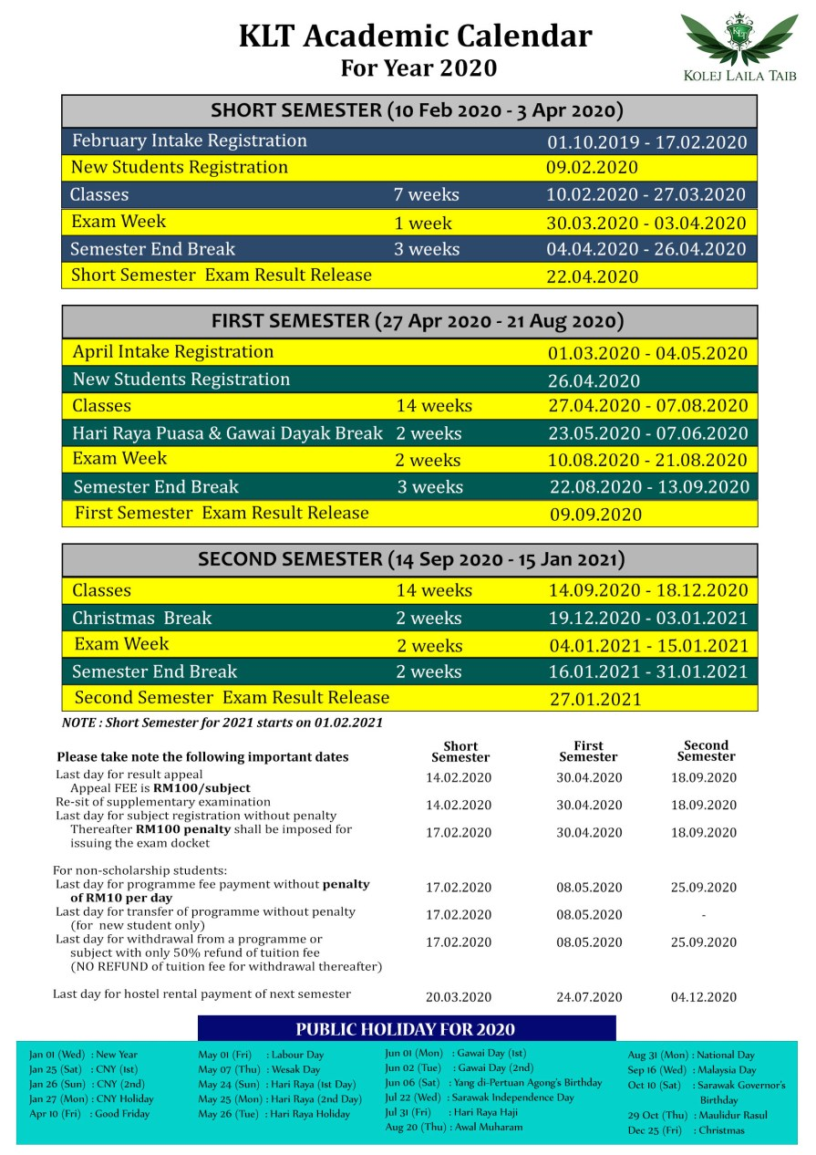 KLT Academic Calendar 2020