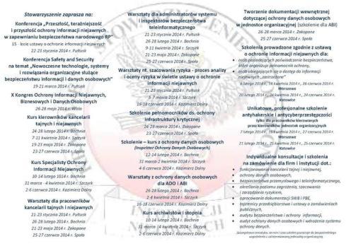 Harmonogram szkoleń KSOIN