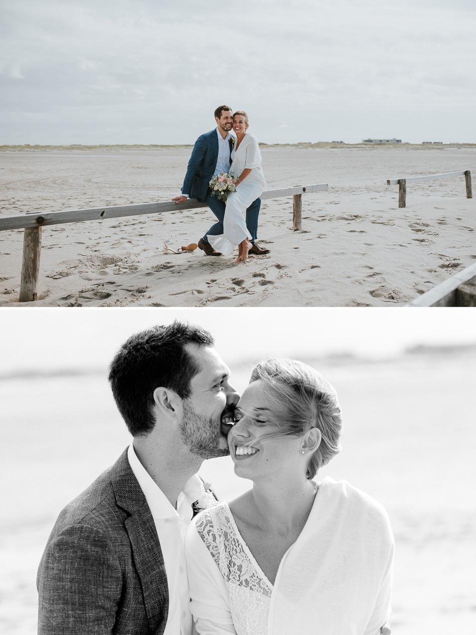 Brautpaarhooting Fotoshooting am Strand in St. Peter ording Conni Klueter Hochzeitsfotografie Nordfriesland