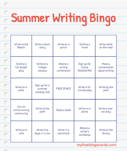 Summer Writing Bingo
