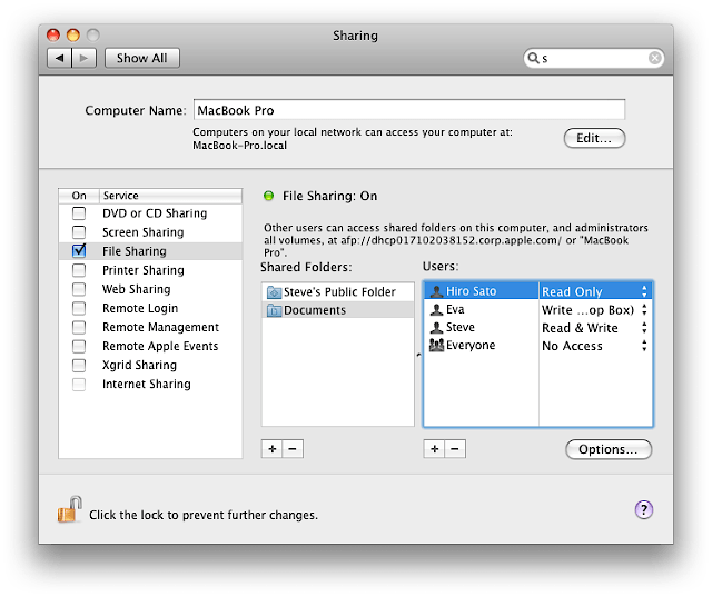 Mac File Sharing