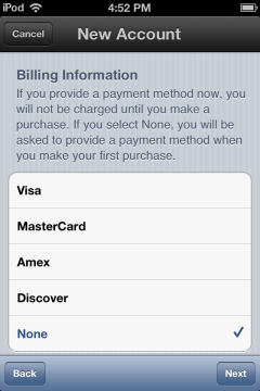 payment options screen