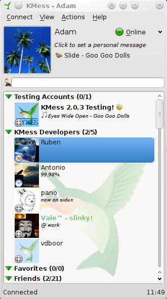 KMess, cliente de mensajería instantánea.