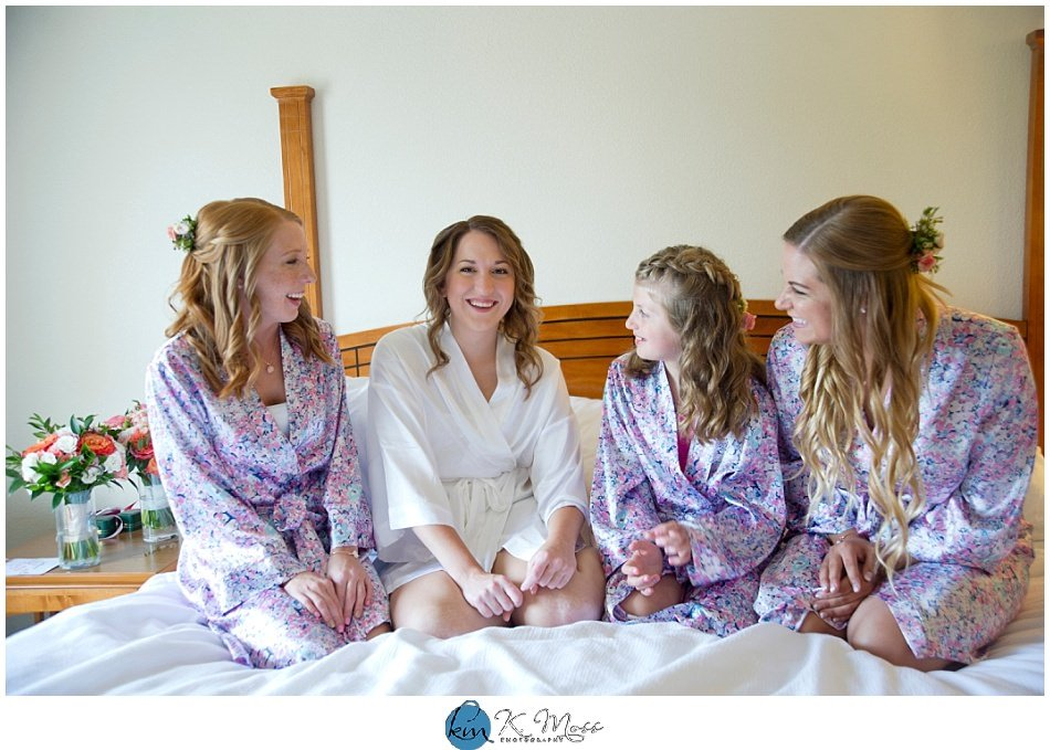 Berks County Bride and Bridesmaid with custom wedding robes | K. Moss Photography