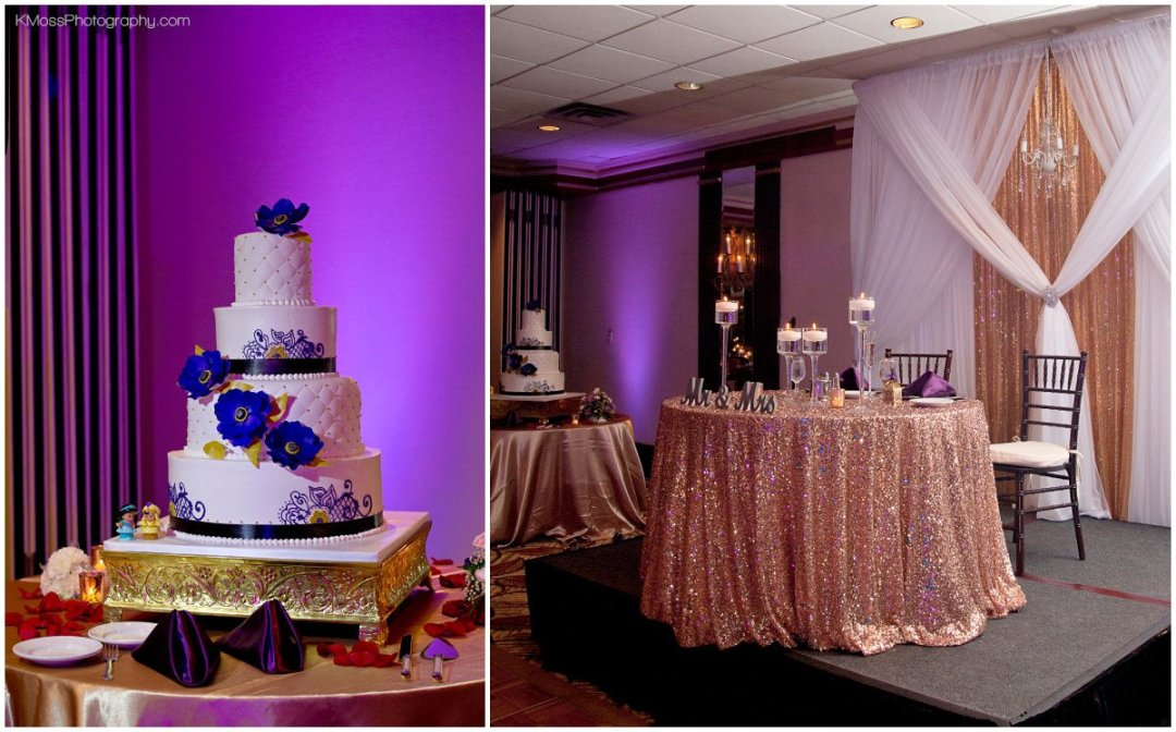 Lehigh Valley Wedding Reception Purple Uplighting | K. Moss Photography