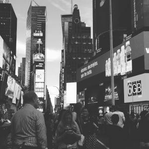 Before the show, coffee in Times Square, a favorite past time of mine.