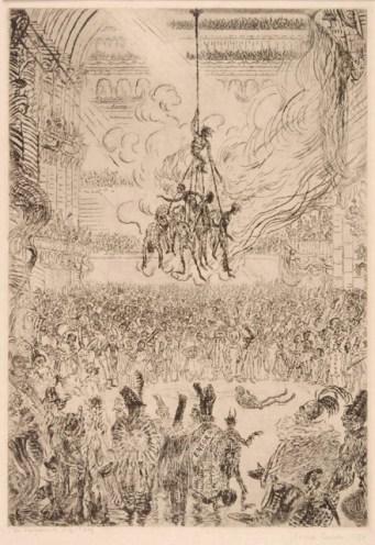 De wraak van Hop Frog, James Ensor, 1898, ets op papier, 35,1 x 24,3 cm, Collectie Provincie Antwerpen, P/G 441, legaat Roger baron Avermaete, foto: Jacques Sonck