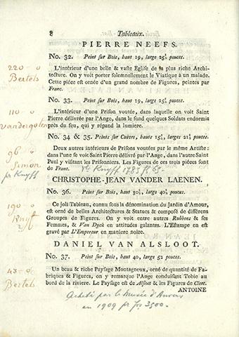 Catalogue d'une riche et précieuse collection de tableaux ... de feu messire Gabriel-François-Joseph de Verhulst. Veilingmeester : Henri De Neck. Bruxelles : impr. Antoine d'Ours, 1779, 56 p. Veiling: Bruxelles, 1779/08/16 - 1779/08/00.