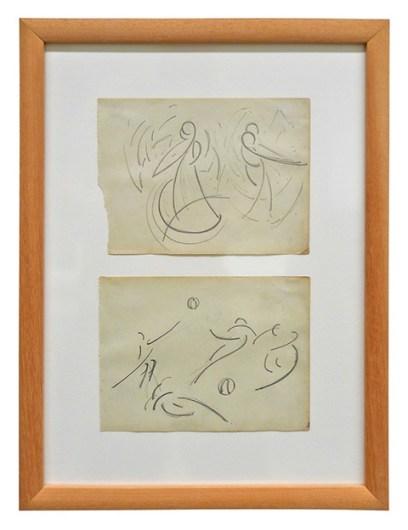Jan Kiemeneij, zonder titel (schetsen van dansende figuren), ca. 1920, potloodtekening. Collectie Provincie Antwerpen, P/G 716 A-B.