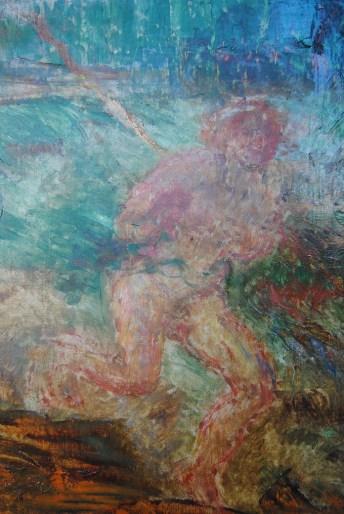 James Ensor, Adam en Eva uit het paradijs verjaagd (detail tijdens restauratie), foto Karen Bonne
