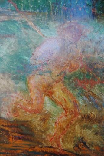 James Ensor, Adam en Eva uit het paradijs verjaagd (detail voor restauratie), foto Karen Bonne
