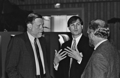 Adobe founder Chuck Geschke (left), NeXT founder Steve Jobs (center) and Adobe founder John Warnock. NeXT, Inc. Steve Jobs. Steve Jobs.