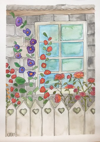 Home with Hollyhocks / Kerry Munns