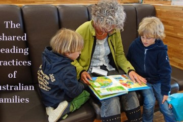 A lady and two small children share a picture book - the title is overlaid over the left of the picture
