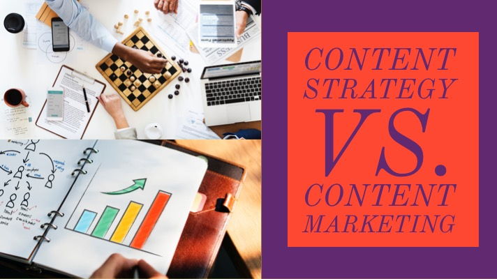 Content strategy vs. content marketing (title): (img) a chessboard and upwards trending bar chart are shown