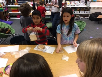 Second graders put together sandwiches for the Brother Francis Shelter. Kayla Desroches/KMXT