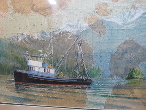 Painting of F/V Aurore Marie, the second boat Bahovec purchase and named after his niece. (Aaron Bolton, KSTK News)
