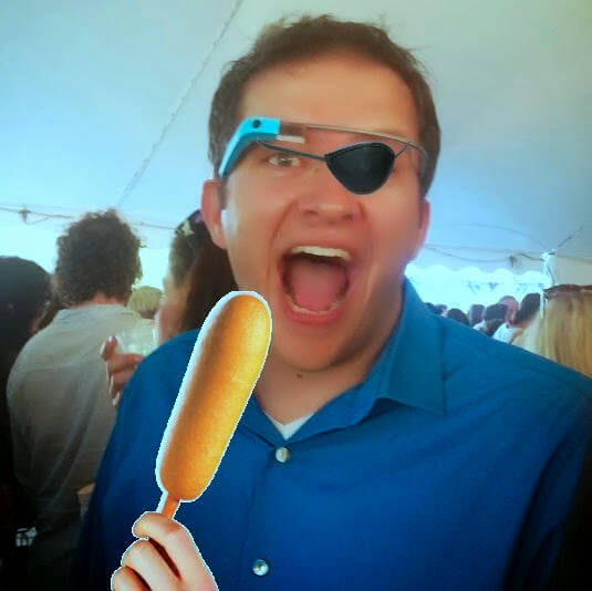Here is a late birthday present for +Adam Outler . Here is a photo of +Derek Ross looking like a pirate Glasshole eating a corndog