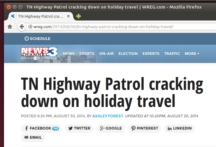 No holiday travel through Tennessee! YOU'VE BEEN WARNED ;) http://wreg.com/2014/08/30/tn-highway-patrol-cracking-down-on-holiday-travel/