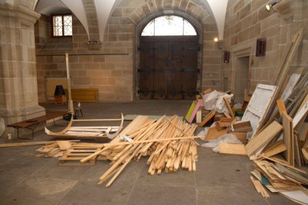Vor dem Aufbau in der Ehrenhalle des Nürnberger Rathauses.