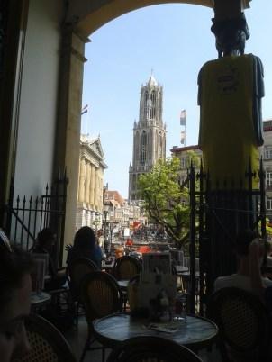 Café in Utrecht - View from Winkel van Sinkel to Utrecht cathedral tower.