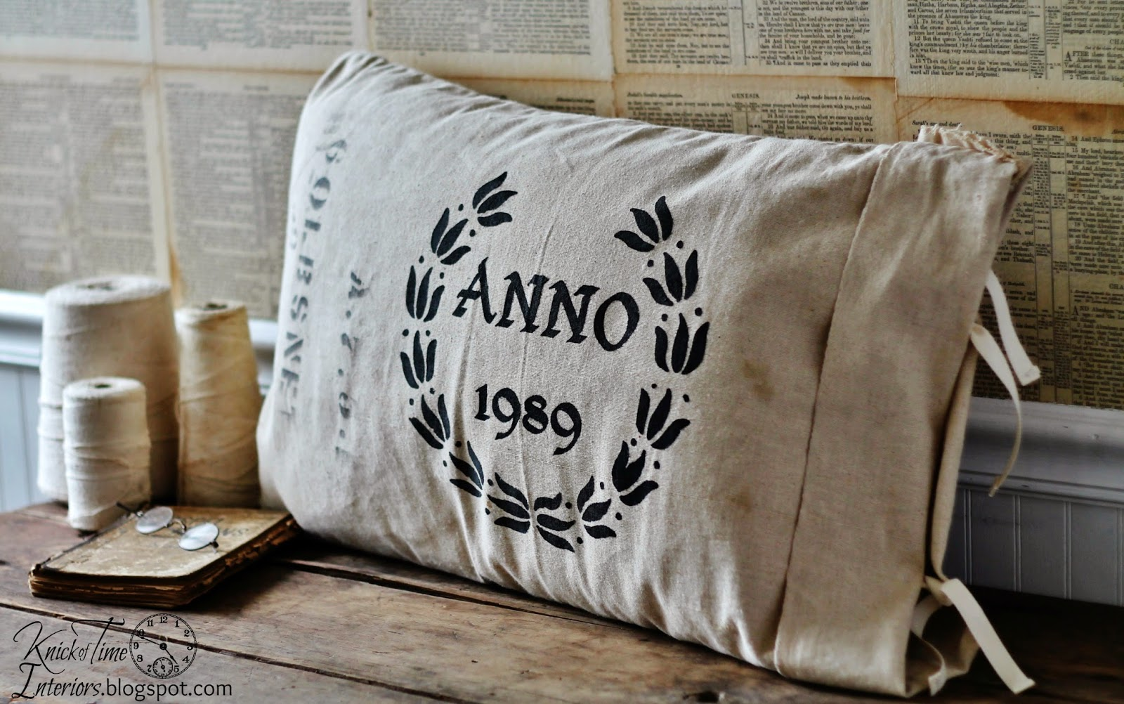 Antique Grain Sack Style Pillows Knick Of Time