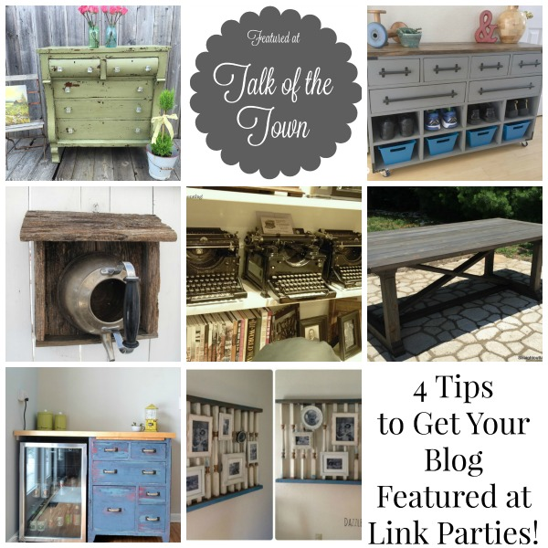 How to get your blog featured at link parties - Talk of the Town party tips - www.knickoftime.net