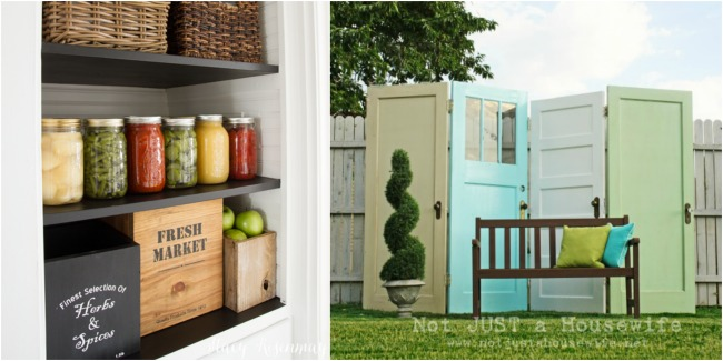organized-pantry-repurposed-doors-privacy-screen