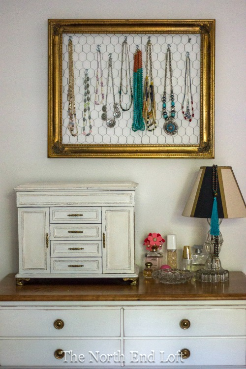 DIY chicken wire repurposed jewelry frame
