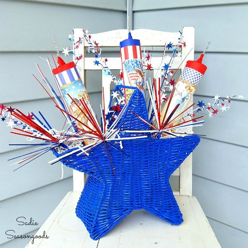 Patriotic red, white, and blue vintage July 4th decor by Sadie Seasongoods