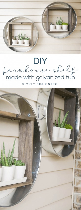 Galvanized Tub Wall Shelf