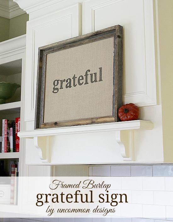 Framed Burlap Thanksgiving Grateful Sign